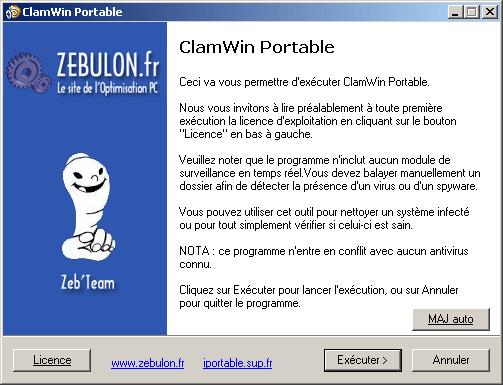 Lancement de l'antivirus ClamWin Portable