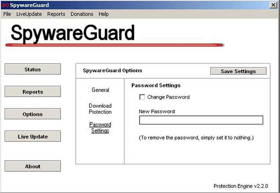 Onglet Password Settings de SpywareGuard