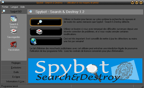 Lancement de Spybot-Search & Destroy
