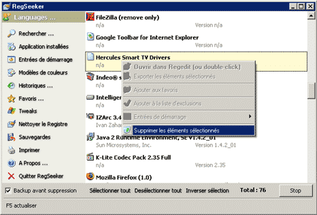 Applications install�es dans RegSeeker