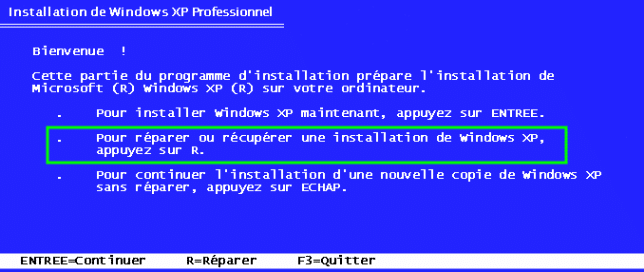 console de recuperation xp sp3