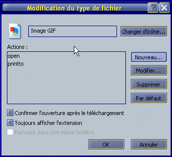 Modification du type de fichier