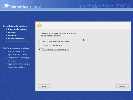 Partitionner son disque pour installer Mandrivalinux