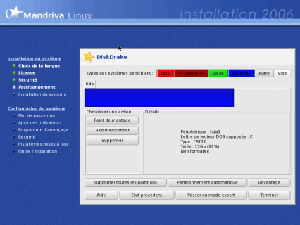 Visualisation des partitions pour installer Mandrivalinux
