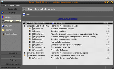 Réglages modules additionnels de Spybot-Search & Destroy