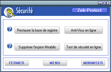 Section Sécurité de Zeb-Utility