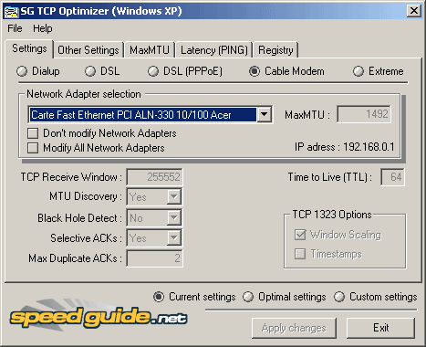 Paramètres de TCP Optimizer