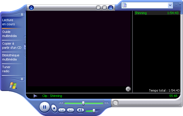 interface Windows Media Player 8