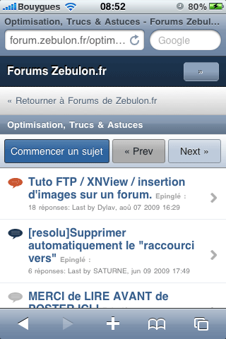 Forum zebulon sur iPhone