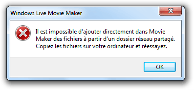 Messgage d'erreur de Movie Maker