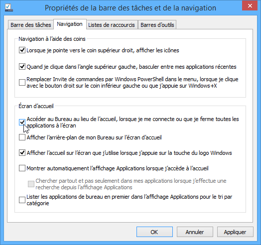 Acc�der au bureau Windows 8