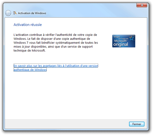 R�activer une version authentique de Windows