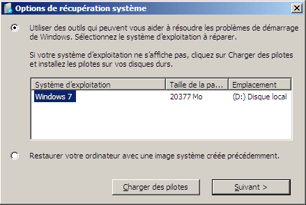 Choix entre la r�paration et la restauration de Windows