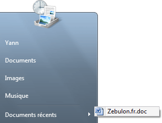 Plus de documents r�cents dans le menu d�marrer