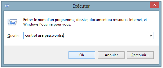 Exécuter control userpasswords2