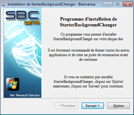 Installation de Starter Background Changer