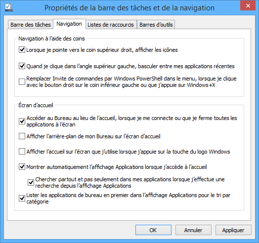 Obtenir les applications dans le menu d�marrer