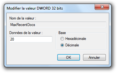 Modification de la valeur MaxRecentDocs