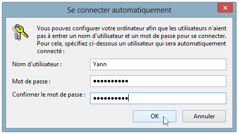 Se connecter automatiquement sous Windows 8