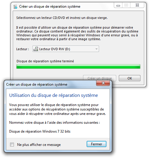Disque r�paration Windows