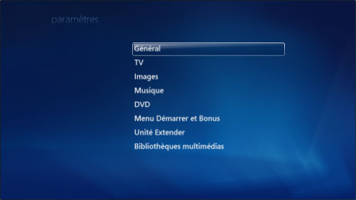 Option Général dans Windows Media Center