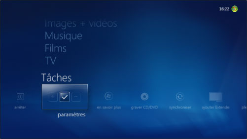 Menu T�ches de Windows Media Center
