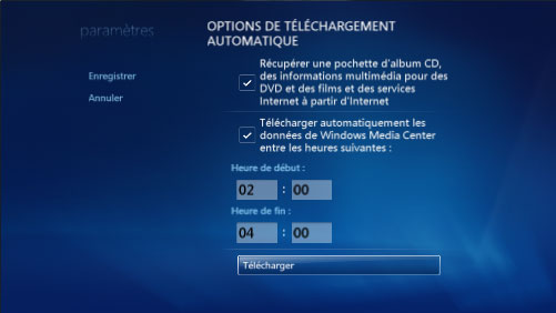 T�l�charger les donn�es de Windows Media Center