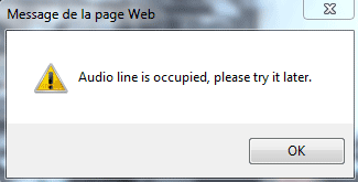 Audio line is occupied, please try it later
