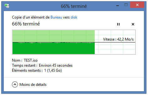 Test de copie sur le NAS