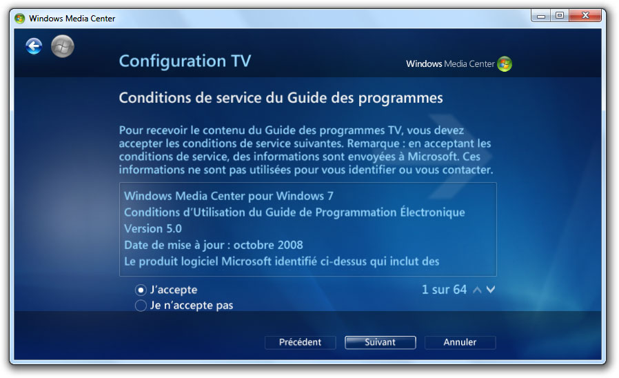 Conditions de service du Guide des programmes