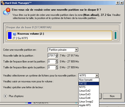 Cr�er une partition
