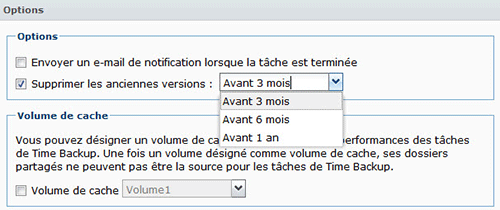 Paramétrage de suppression des anciennes versions dans Time Backup
