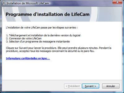 Installation de la LifeCam Cinema HD