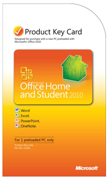 Carte d'activation pour Office 2010