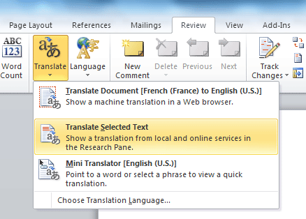 Traduction automatique dans Word 2010