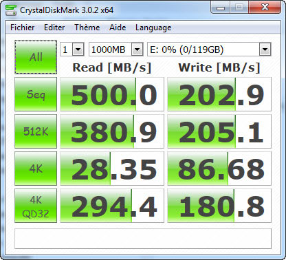 Bench SSD M4 : Crystal Disk Mark