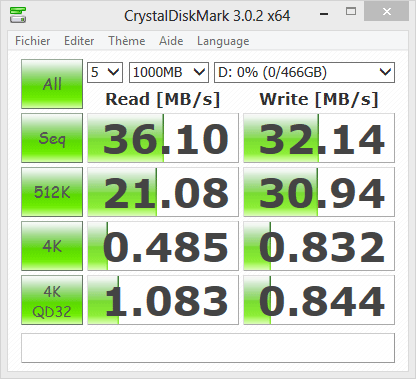 Test Seagate Expansion Crystal Disk Mark en USB 2.0