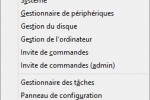 Menu des liens rapides de Windows 8