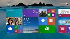 Le bureau de Windows 8.1 avec son fond d'�cran personnalisable.