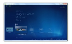 TV avec Windows Media Center