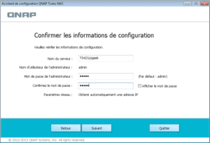 Confirmation des informations de configuration