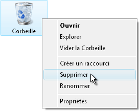 Option supprimer la corbeille