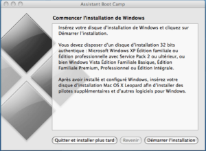 Lancement de l'installation de Windows
