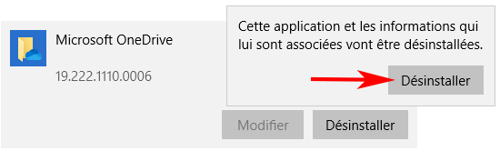 Confirmation de désinstallation de l'application