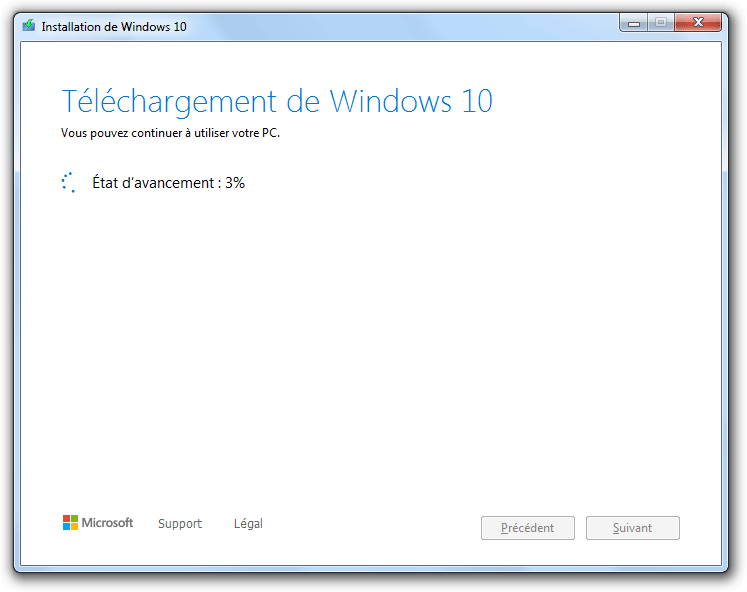Téléchargement de Windows 10