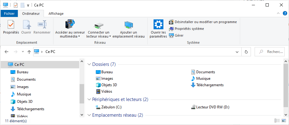 Explorateur de fichiers Windows 10