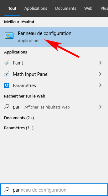 Application panneau de configuration