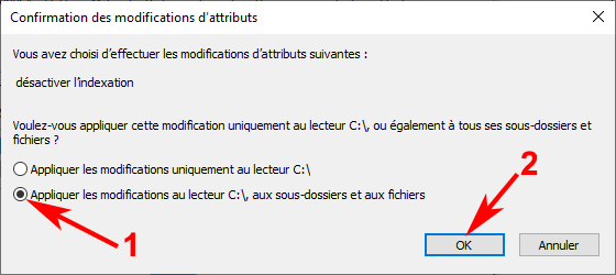 Confirmation des modifications d'attributs