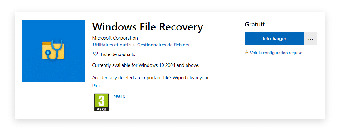 Télécharger Windows File Recovery