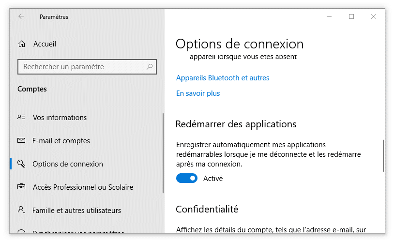 "Activation de l'option ""Redémarrer des applications"""